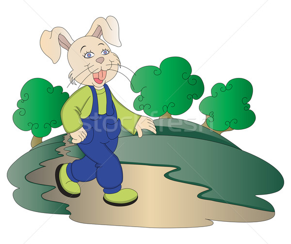 Vector of rabbit walking in park. Stock photo © Morphart