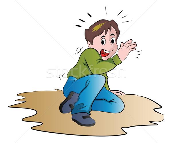 испуганный мальчика иллюстрация подростку только белый Сток-фото © Morphart