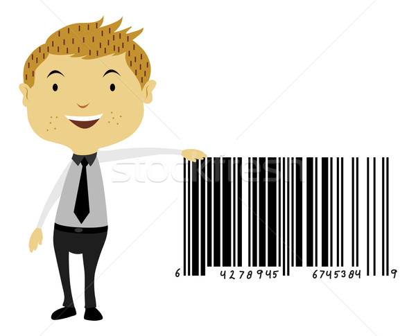 Man Beside a Giant Barcode Symbol, illustration Stock photo © Morphart