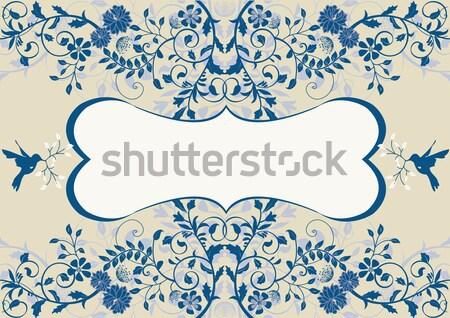 Vintage wedding invitation card with floral design Stock photo © Morphart