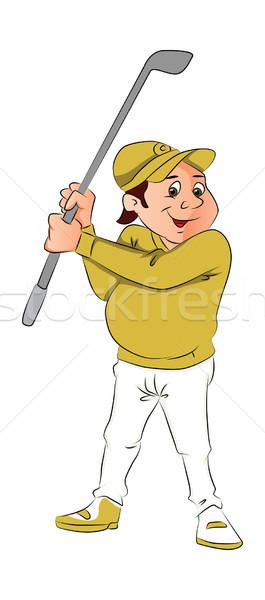 Foto stock: Vetor · retrato · masculino · jogador · de · golfe · clube