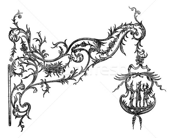 Wrought iron signs, a Temesvar. Drawing Garnier, after the album Stock photo © Morphart