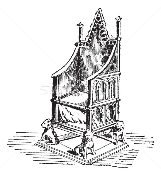 Throne, vintage engraving Stock photo © Morphart