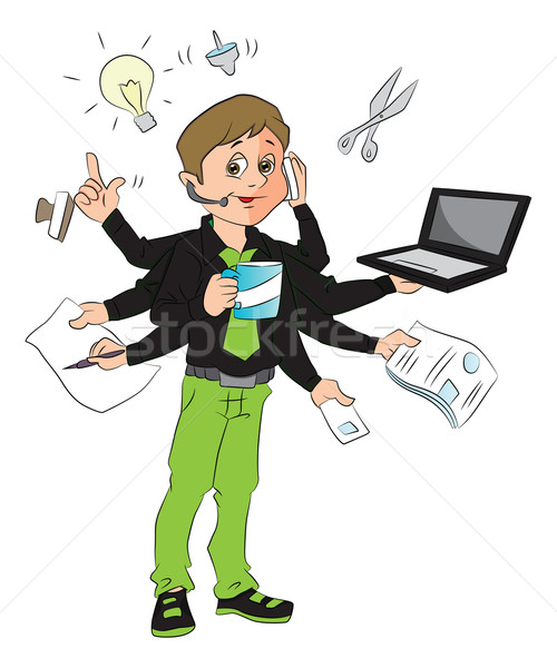 Vector of man multitasking in the office. Stock photo © Morphart