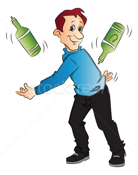 Vektor férfi zsonglőrködés üvegek fiatalember fehér Stock fotó © Morphart
