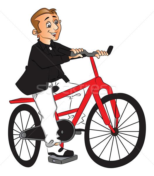 Vector of man riding bicycle. Stock photo © Morphart
