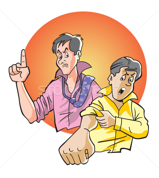 Stock photo: Angry men, illustration
