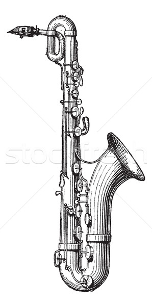 Saxophone vintage engraving Stock photo © Morphart