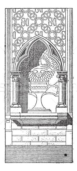Bağbozumu oyma niş bazilika aziz Paris Stok fotoğraf © Morphart