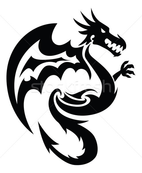 Flying dragon tattoo, vintage engraving. Stock photo © Morphart