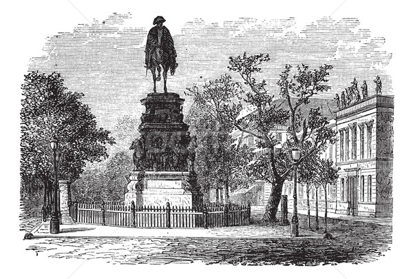Frederick the Great, king, statue, Berlin, Germany, vintage engr Stock photo © Morphart