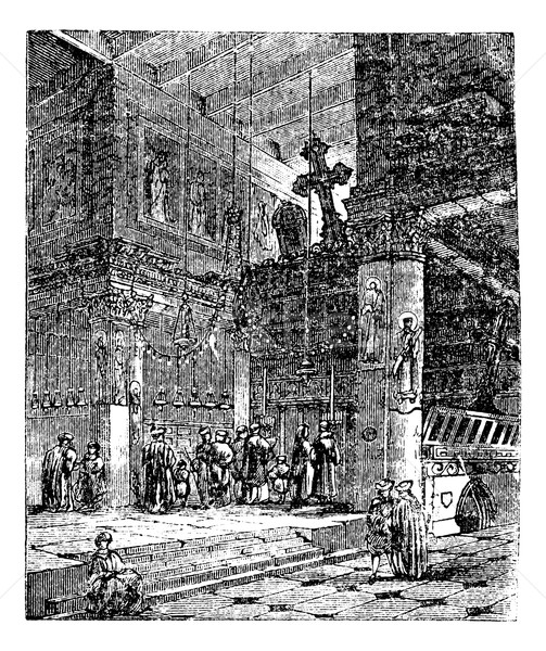 Church of the Nativity, Bethlehem, Israel, vintage engraving. Stock photo © Morphart