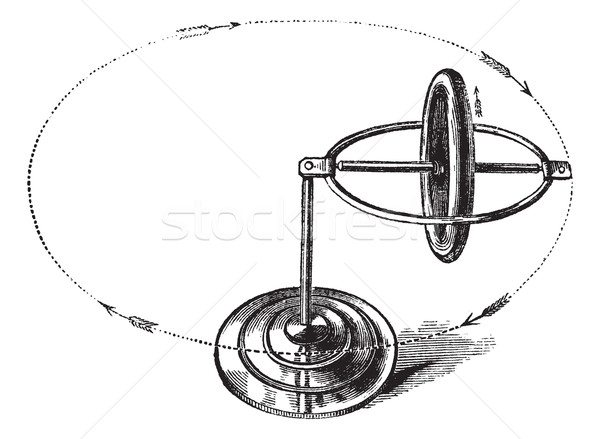 Gyroscope vintage engraving Stock photo © Morphart