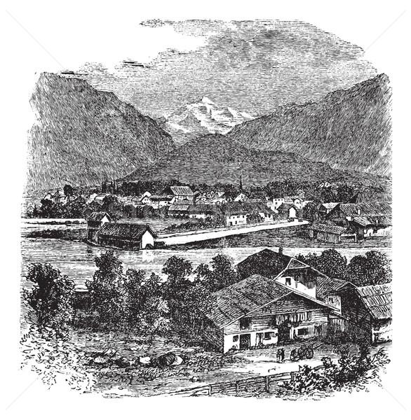 Interlaken and Jungfrau Switzerland vintage engraving Stock photo © Morphart