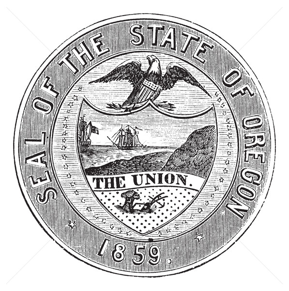 Seal of the State of Oregon, vintage engraving Stock photo © Morphart