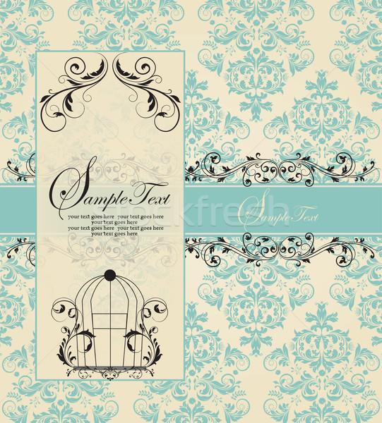 Vintage bleu damassé fête résumé Photo stock © Morphart