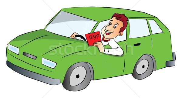 Vector man rijden auto tonen rap Stockfoto © Morphart