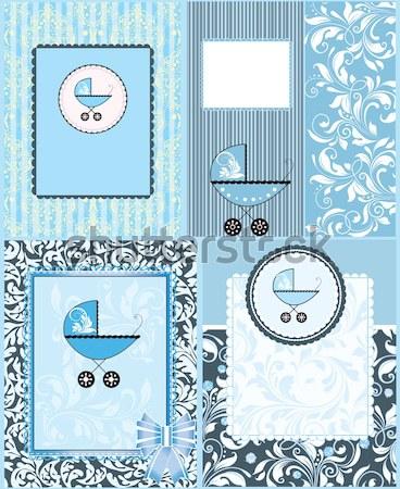 Szett négy klasszikus baba zuhany meghívó Stock fotó © Morphart