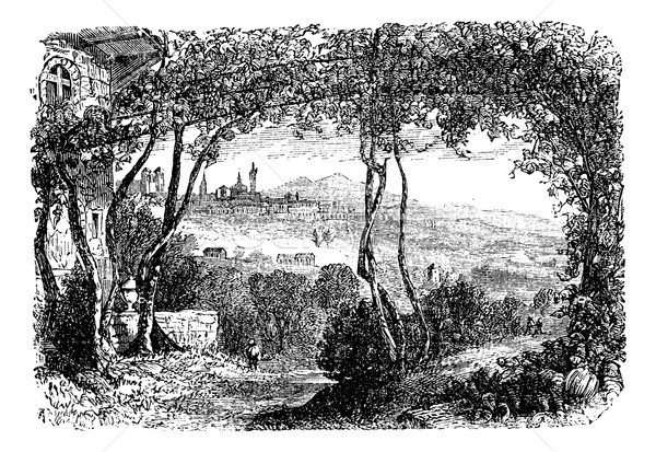 Bergamo, in Lombardi, Italy, vintage engraving Stock photo © Morphart