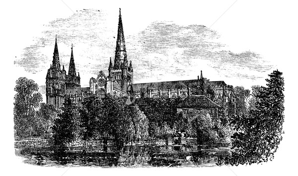 Lichfield Cathedral, Lichfield, Staffordshire, England. vintage  Stock photo © Morphart