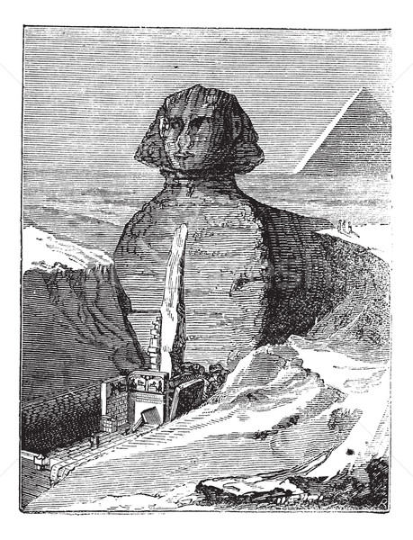 Great Sphinx of Giza in Giza Egypt vintage engraving Stock photo © Morphart