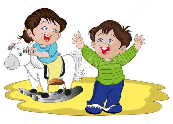 Vecteur enfants jouer cheval à bascule heureux frère Photo stock © Morphart