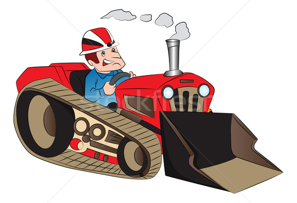 Vector of construction worker driving a loader. Stock photo © Morphart