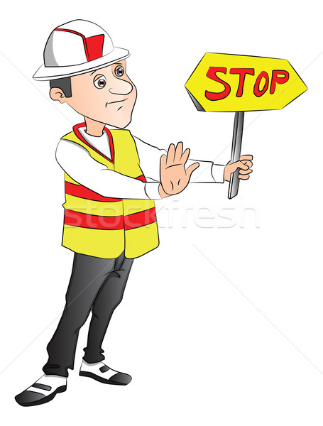Vector of construction worker showing stop sign at site. Stock photo © Morphart
