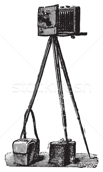 Camera Derogy deployed, ready to run, vintage engraving. Stock photo © Morphart