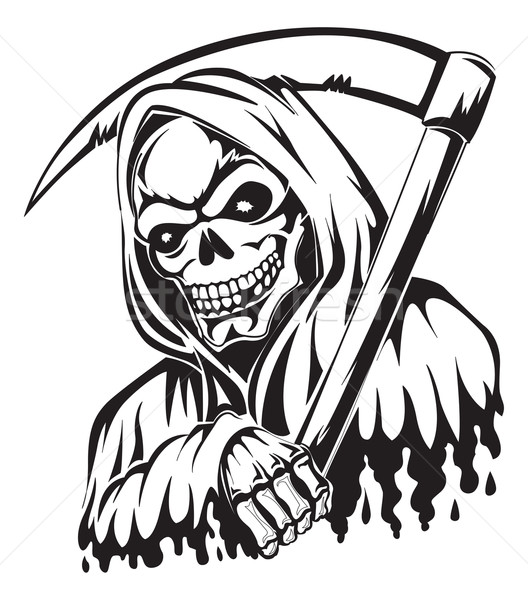 Tattoo of a grim reaper holding a scythe, vintage engraving. Stock photo © Morphart