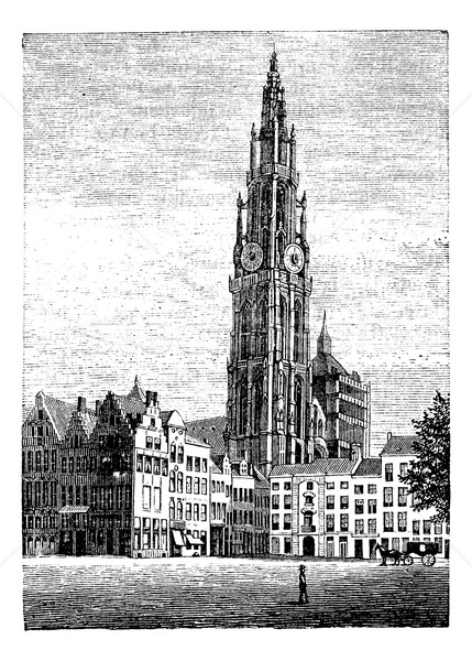 Cathedral of Our Lady, in Antwerp, Belgium, vintage engraving. Stock photo © Morphart