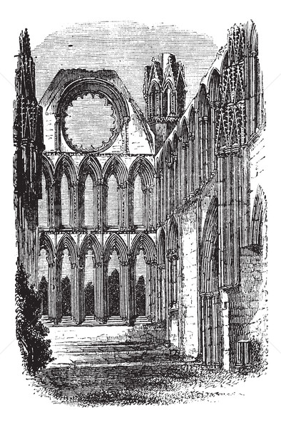Elgin Cathedral in Moray, Scotland, vintage engraving Stock photo © Morphart