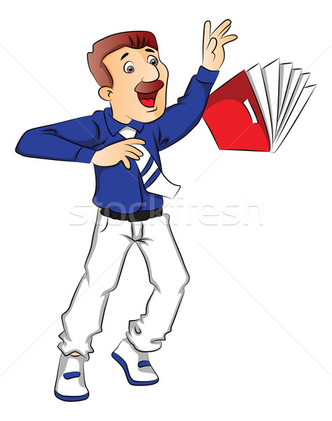 Vector of shocked businessman trying to hold a falling file. Stock photo © Morphart