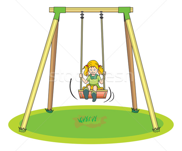 Girl Playing on a Swing, illustration Stock photo © Morphart