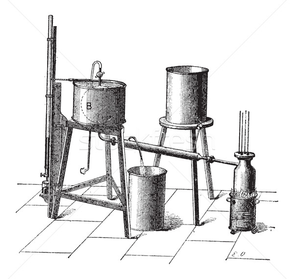 Experimental Setup to Measure the Maximum Elastic Force of Steam Stock photo © Morphart