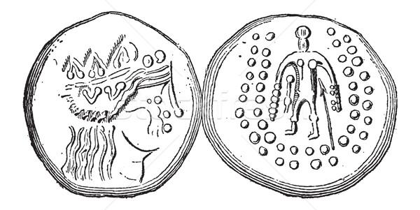 Ancient Celtic Tetradrachma Silver Coin, vintage engraving Stock photo © Morphart