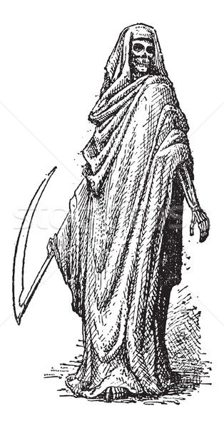 Stock photo: Death or the Grim Reaper, vintage engraving