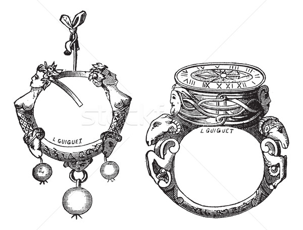 The earring and the ring of the sixteenth century vintage engrav Stock photo © Morphart