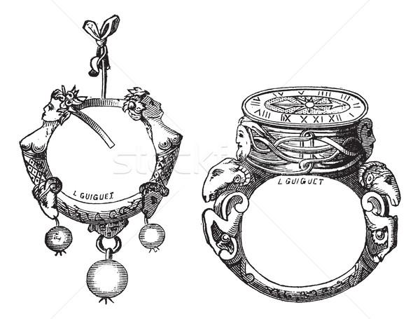 Oorbel ring vintage oude gegraveerd illustratie Stockfoto © Morphart