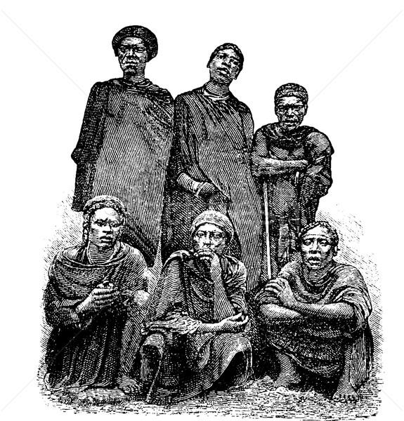 Férfiak Kongó központi Afrika klasszikus vésés Stock fotó © Morphart