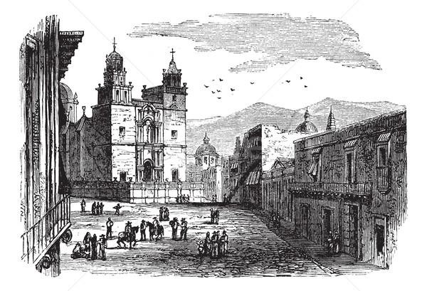 Cathedral at Guanajuato vintage engraving Stock photo © Morphart