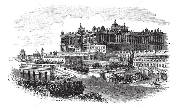 The Royal Palace of Madrid in Spain vintage engraving Stock photo © Morphart