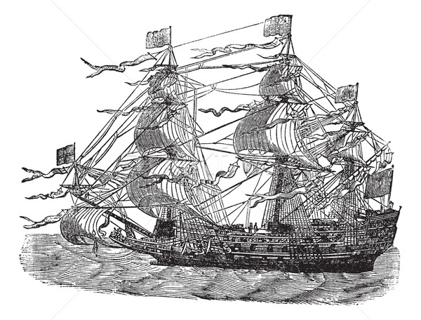 HMS Sovereign of the Seas, vintage engraved illustration Stock photo © Morphart