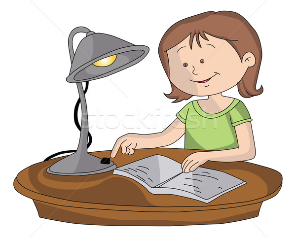 Vector of girl switching on lamp to study. Stock photo © Morphart