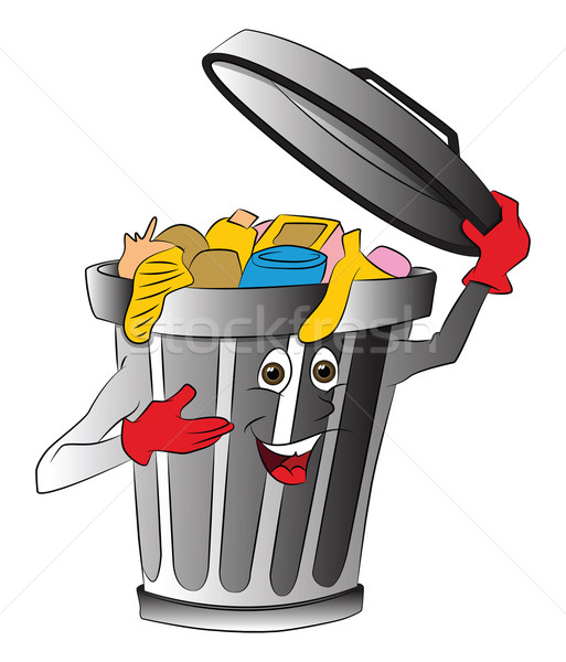 Vector of overloaded dustbin holding lid. Stock photo © Morphart