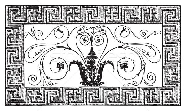 Detail oude Romeinse mozaiek ontwerp grens Stockfoto © Morphart