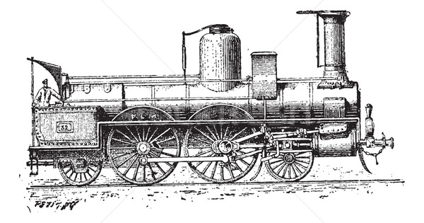 Locomotief vintage gegraveerd illustratie woordenboek Stockfoto © Morphart
