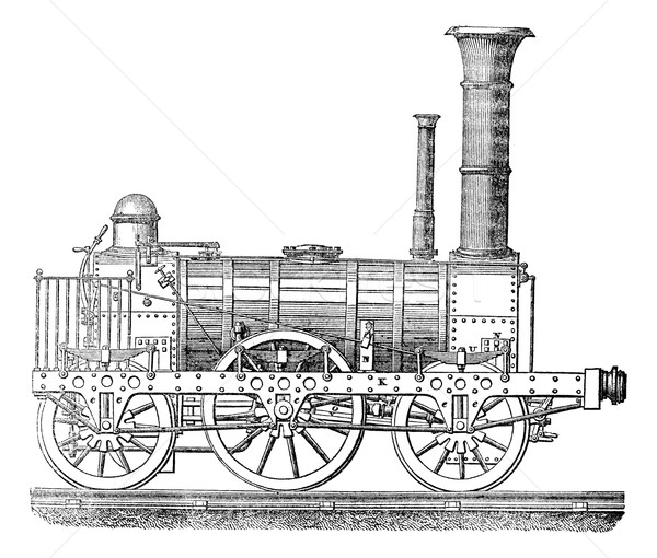 Steam locomotive, vintage engraving. Stock photo © Morphart