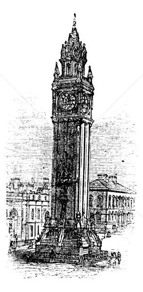 Albert Memorial Clock, in Belfast, Ireland vintage engraving Stock photo © Morphart