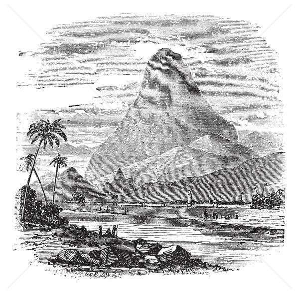 Comorin Peak in Kanyakumari, Tamil Nadu, India, vintage engravin Stock photo © Morphart